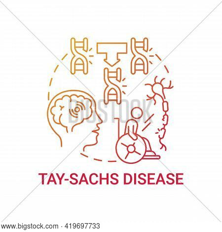 Tay Sachs Disease Red Gradient Concept Icon. Problem With Nerve Cells. Inherited Illness. Health Iss