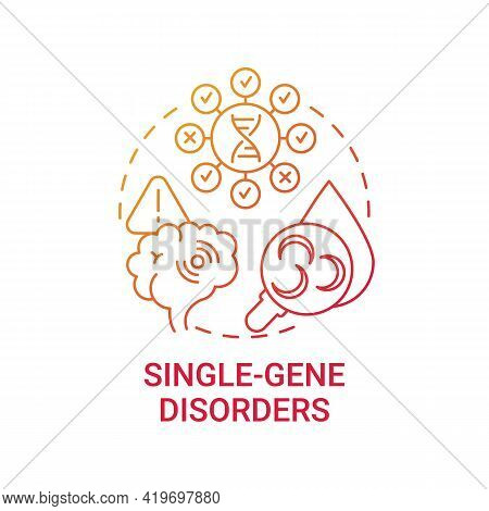 Single Gene Disorders Red Gradient Concept Icon. Sickle Cell Disease. Cystic Fibrosis. Chronic Syndr