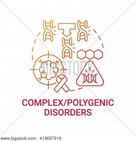 Complex, Polygenic Disorders Red Gradient Concept Icon. Combined Genes As Cause Of Illness. Genetic