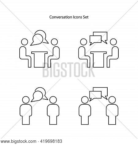 Conversation Icon Set Isolated On White Background. Conversation Icon Thin Line Outline Linear Conve