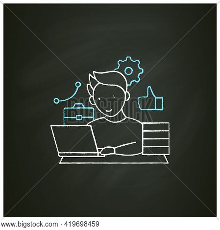 Workaholic Chalk Icon. Behavioral Causes. Man Works On Laptop. Hard Working. Satisfied From Work.ove