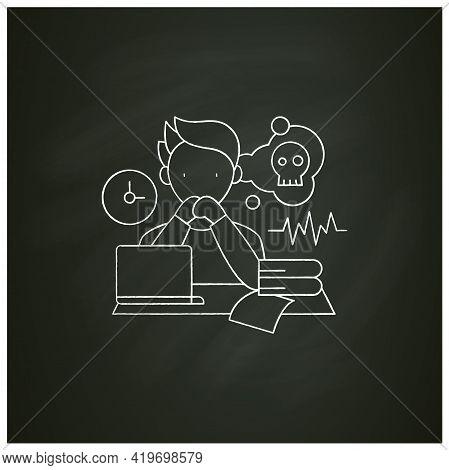 Worrier Procrastinator Chalk Icon.do Not Start Important, Difficult Tasks. Unbelieve To Do It.scared