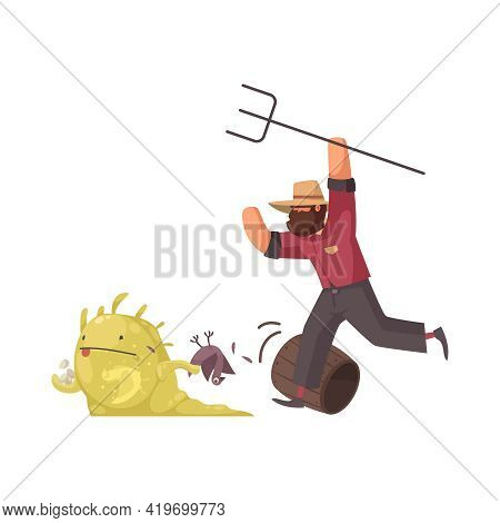Angry Farmer With Hayfork Chasing After Alien Stealing Hen And Eggs Cartoon Vector Illustration
