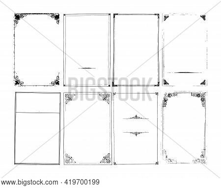 Set Of Trendy Light Shabby Grungy Backgrounds With Frames. Collection Of Damaged Decorative Surfaces