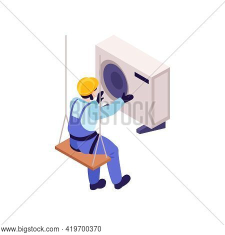 Isometric Character Of Ironworker Installing Air Conditioner 3d Vector Illustration