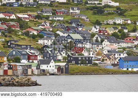 Picturesque Colorful Village Of Vestmanna In Feroe Islands. Atlantic Ocean