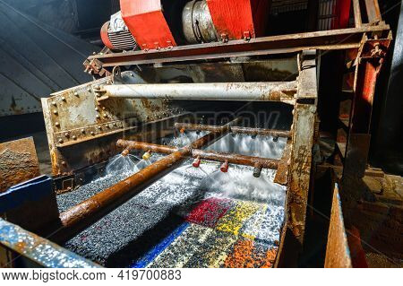 Vibrating Screen, Ore Screening. Lots Of Small Stones On The Surface Of The Sieve.