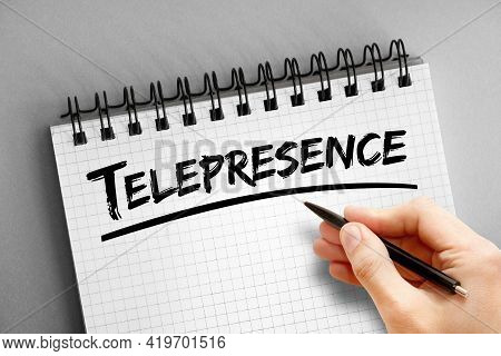 Telepresence - Text On Notepad, Concept Background