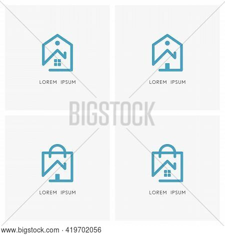 Home Outline Logo Set. House With Window, Front Door And Chimney, Price Tag And Shopping Bag Symbol