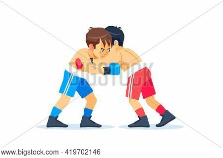 Guys Boxers Stand In A Clinch. Cartoon Characters Boy Vector Illustration Isolated On White Backgrou