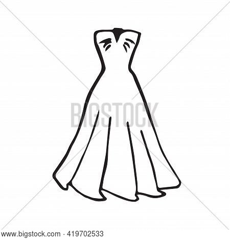 Women's Dress. Linear Outlines Of A Female Figure In A Dress. Silhouette Of A Model In Clothes. Line