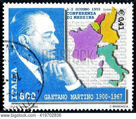 Italy - Circa 2000: Postage Stamp Printed In Italy Shows Messina-born Gaetano Martino, Was An Italia