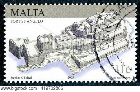 Malta - Circa 2003: Postage Stamp Printed In Malta Shows Fort Saint Angel Is A Large Fortification L