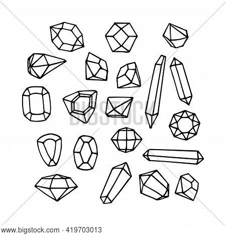 Set Of Faceted Gemstones: Emeralds, Diamonds And Rubies, Glass Crystals, Vector Illustration With Bl