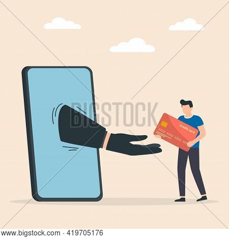Credit Card Online Payment Scam Concept, Hacker Or Criminal Use Phishing To Steal Online Money, From
