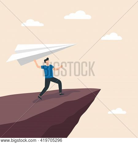 Man Holding A Paper Airplane On Cliff Edge. Concept Of Business Startup, Launch Of New Project. Vect