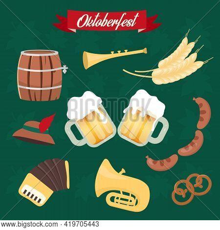Oktoberfest Flat Vector Illustrations Set. Cups Of Alcohol, Food. Barrel And Sausages, Pretzel Stick