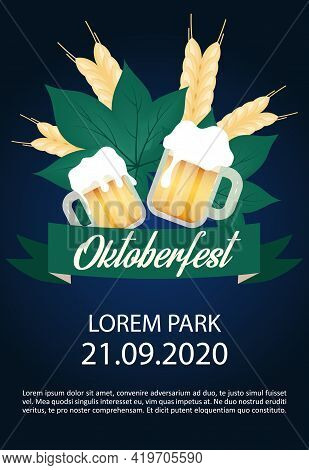 Oktoberfest Brochure Template. Barley And Cups Of Alcohol. Beer Festival. Flyer, Booklet, Leaflet Co