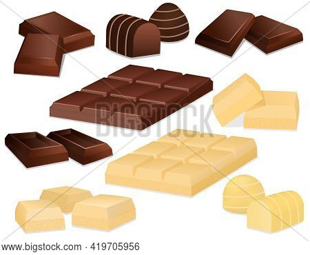 Chocolate Pieces. Realistic Dark White And Milk Chocolate Bars And Square Chocolate Candy. Set Of Ve