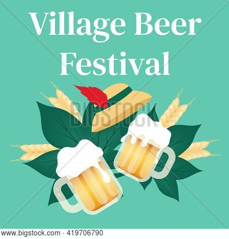 Village Beer Festival Social Media Post Mockup. Cups Of Alcohol. Beer Festival. Advertising Web Bann