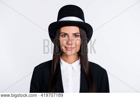 Photo Of Beautiful Lovely Smiling Cheerful Woman Magician Sorcerer Wear Tall Hat Isolated On White C