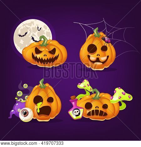 Halloween Pumpkins Cartoon Vector Illustrations Set. Creepy Carved Squash With Evil And Angry Smiles