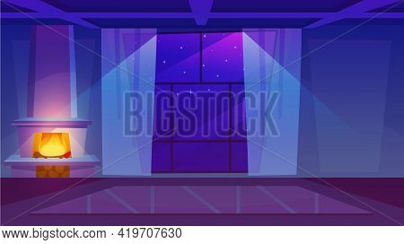 Fireplace In Empty Room Flat Vector Illustration. Luxury House Interior With Panoramic Windows And L