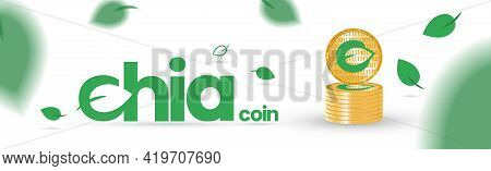 Banner With Gold Coins Of Cryptocurrency Chia On A White Background. Chia Leaves Fly And Fall. Conce