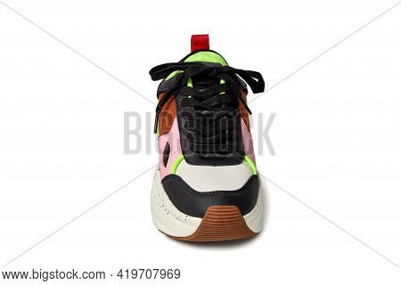 Close-up Of The Right Shoe On A White Background. Directed To The Camera.