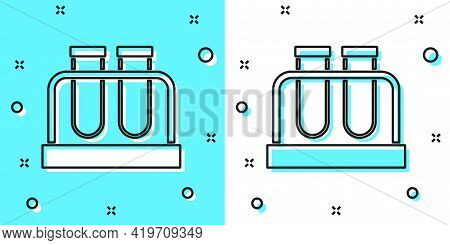 Black Line Test Tube And Flask Chemical Laboratory Test Icon Isolated On Green And White Background.
