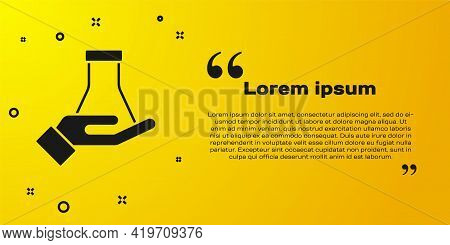 Black Test Tube And Flask Chemical Laboratory Test Icon Isolated On Yellow Background. Laboratory Gl
