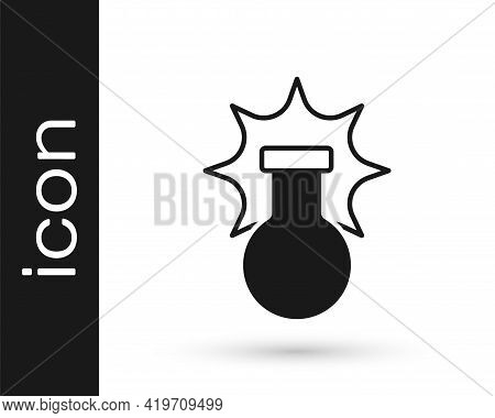 Black Chemical Experiment, Explosion In The Flask Icon Isolated On White Background. Chemical Explos