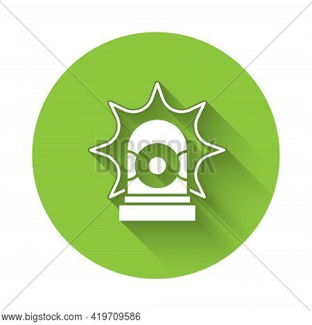 White Flasher Siren Icon Isolated With Long Shadow. Emergency Flashing Siren. Green Circle Button. V