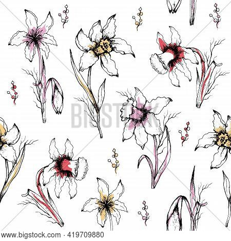 Seamless Pattern Of Monochrome  Flowers Close-up. Primroses Flowers In The Style Of Realism (doodlin