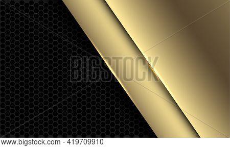 Abstract Luxury Golden Overlap On Dark Grey Hexagon Mesh Pattern Design Modern Futuristic Background