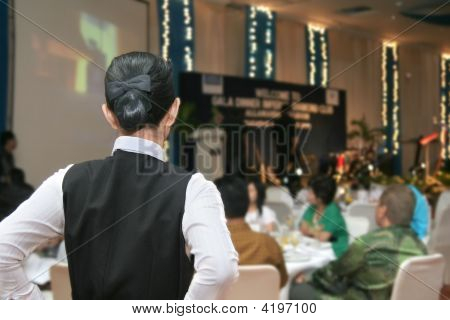 Waitress Ready In Gala Dinner