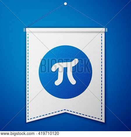 Blue Pi Symbol Icon Isolated On Blue Background. White Pennant Template. Vector