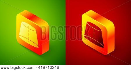 Isometric Geometric Figure Icon Isolated On Green And Red Background. Abstract Shape. Geometric Orna