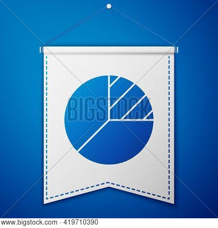Blue Pie Chart Infographic Icon Isolated On Blue Background. Diagram Chart Sign. White Pennant Templ