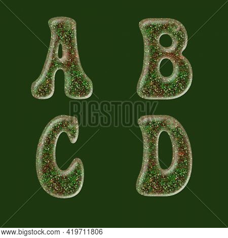 3D rendering of green and red glitter capital letter alphabet - letters A-D