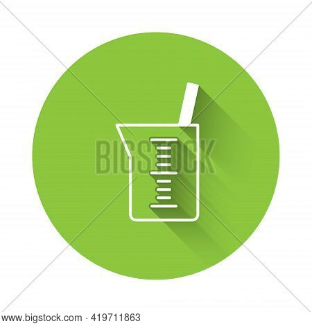 White Laboratory Glassware Or Beaker Icon Isolated With Long Shadow. Green Circle Button. Vector