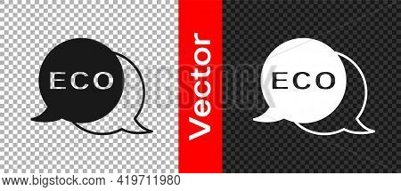 Black Banner, Label, Tag, Logo For Eco Green Healthy Food Icon Isolated On Transparent Background. O
