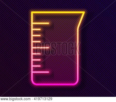 Glowing Neon Line Laboratory Glassware Or Beaker Icon Isolated On Black Background. Vector
