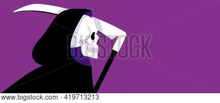 Grim Reaper In Black Cloak. Vector Illustration With Copy Space. Banner With Purple Background.