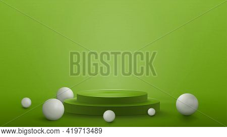 Green Abstract Scene With Empty Podium With Realistic Spheres. Scene For Your Product Presentation
