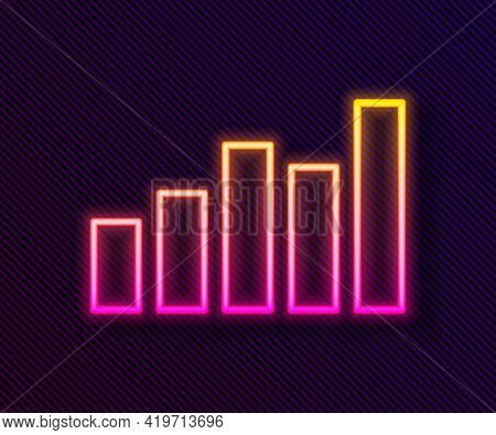 Glowing Neon Line Graph, Schedule, Chart, Diagram, Infographic, Pie Graph Icon Isolated On Black Bac