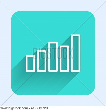 White Line Graph, Schedule, Chart, Diagram, Infographic, Pie Graph Icon Isolated With Long Shadow. G