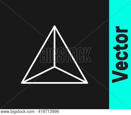 White Line Geometric Figure Tetrahedron Icon Isolated On Black Background. Abstract Shape. Geometric