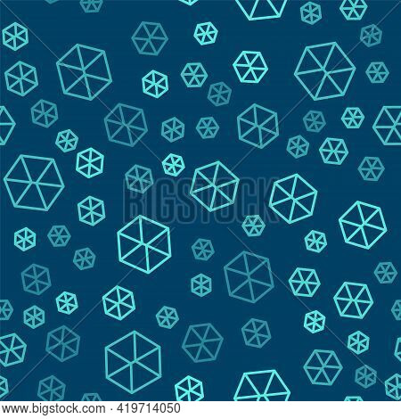Green Line Geometric Figure Cube Icon Isolated Seamless Pattern On Blue Background. Abstract Shape.