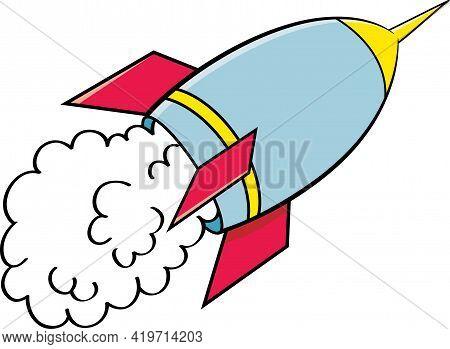 Cartoon Illustration Of A Rocket Ship Blasting Off.